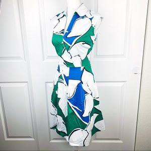 Sandra Darren Blue Green White Sleeveless Dress